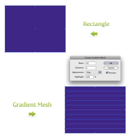 Draw Rectangle and Create Gradient Mesh