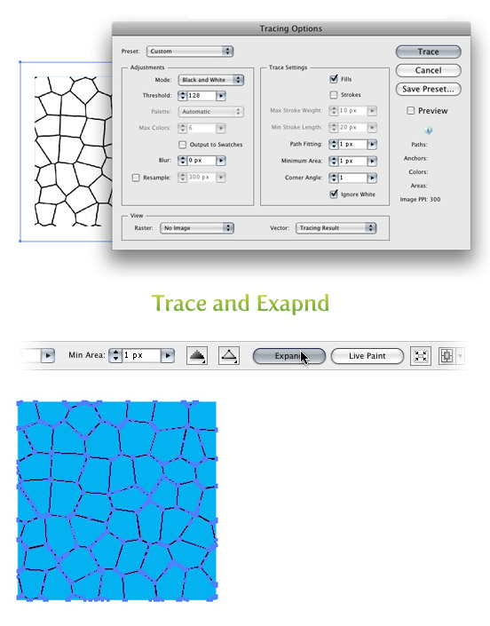 trace and expand water texture vector