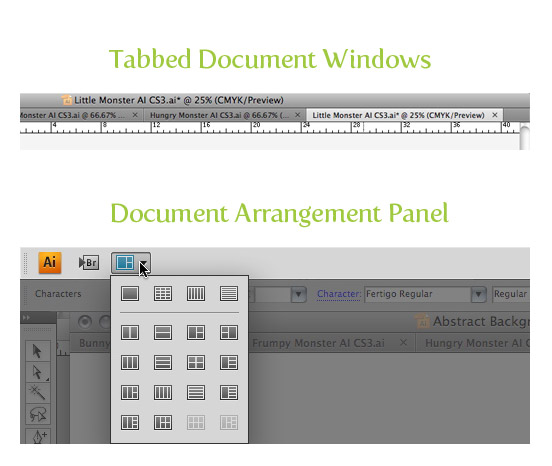 Tabbed Document Windows and Document Arrangement Panel
