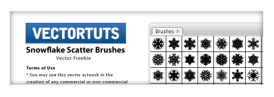 VECTORTUTS Freebie Announcement: Exclusive Illustrator Snowflake Scatter Brushes