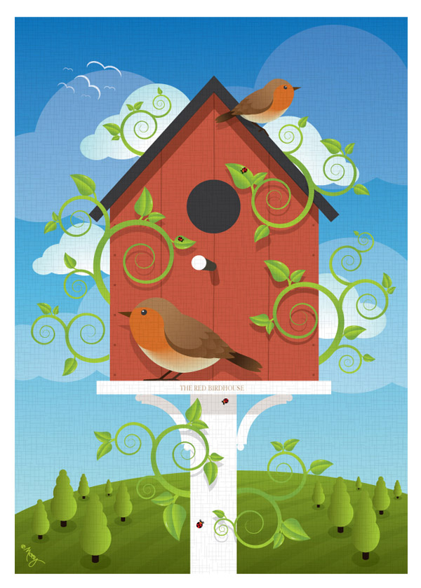 The Red Birdhouse by Shirley-Ann Dick