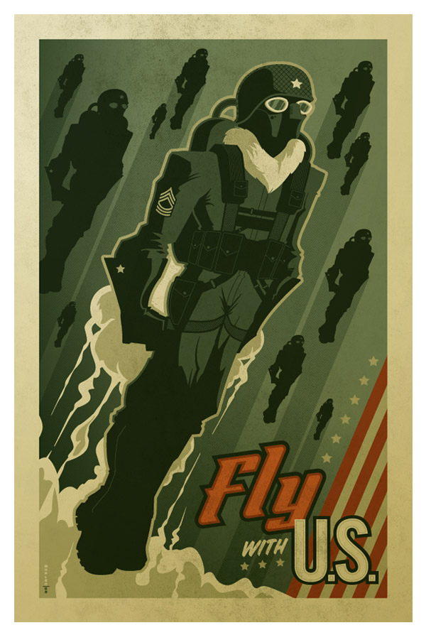"""fly with U.S."" poster by strongstuff"