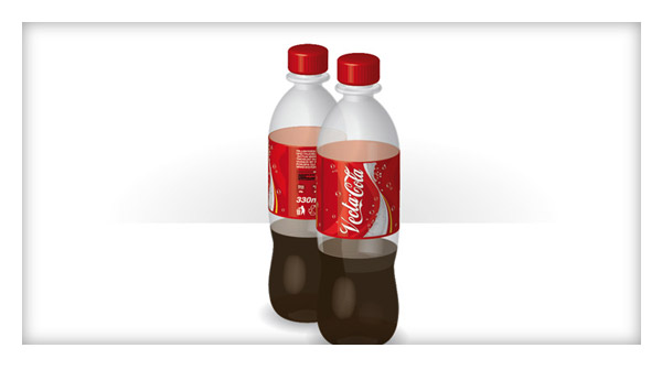 Illustrator Working with 3D Objects and Transparencies to Make a Vector Cola Bottle Design