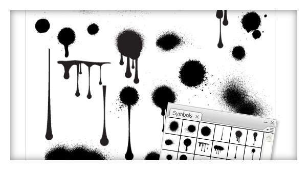 Exclusive Freebie : Drips and splatters Vector Symbols Library