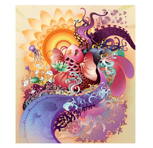 Koi Illustration by Nick L