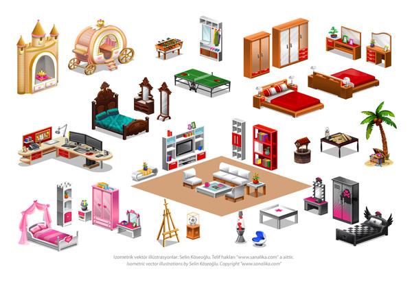 isometric furnitures by selinkoseoglu