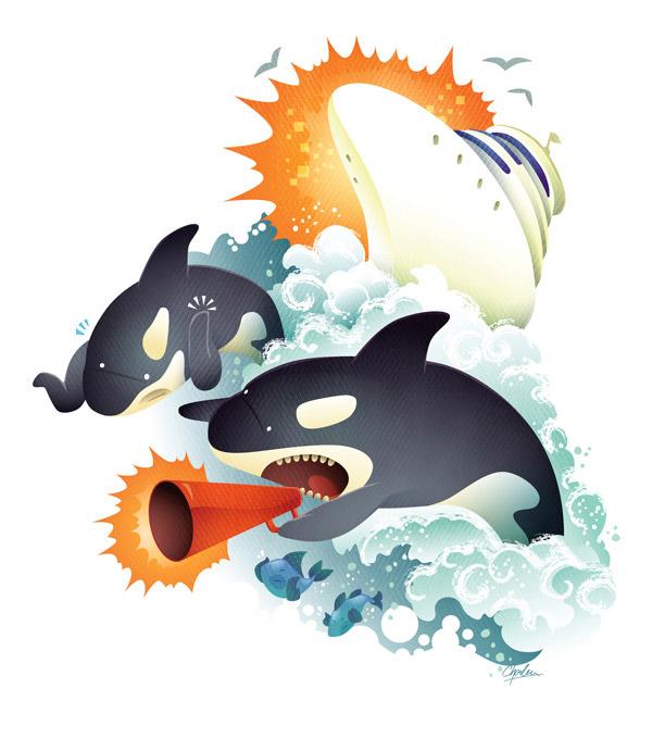 Noisy orcas, Seattle Metropolitan by Charlene Chua