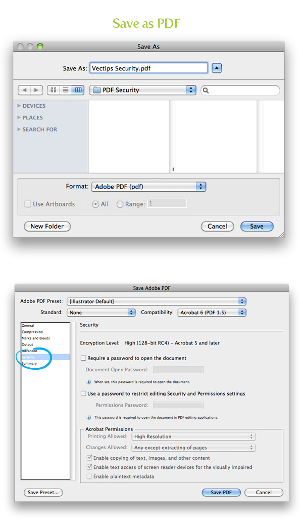 Adding Security to PDF Files in Illustrator - Vectips