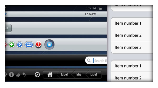 iPad vector GUI elements: tabs buttons menus icons