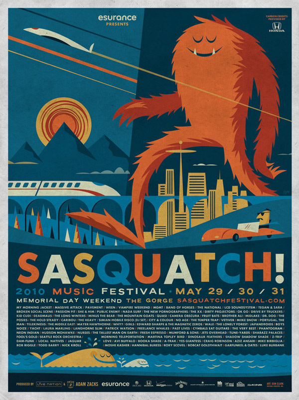 2010 Sasquatch! Music Festival Poster by Invisible Creature