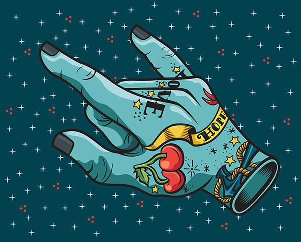 Tattooed hand by Yara Zamora