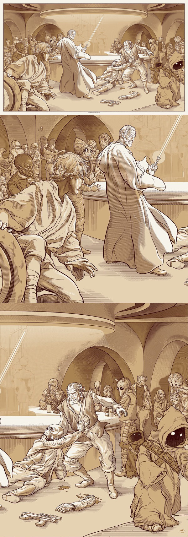 A Wretched Hive Star Wars Print by Martin Ansin