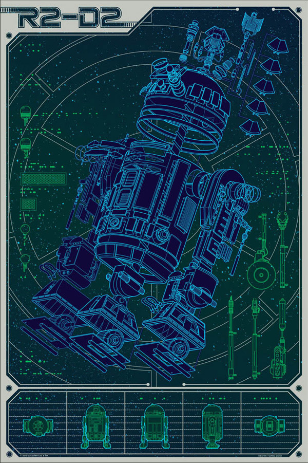 A Linch Pin Droid R2D2 Star Wars Print by Kevin Tong