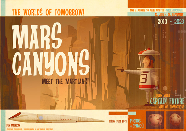 Mars Canyons with Captain Future! by JAMES GILLEARD