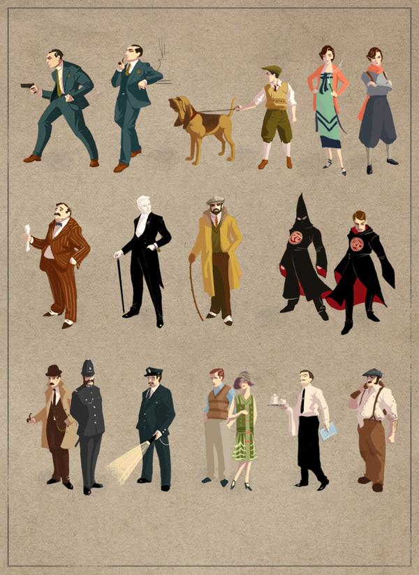 Sexton Blake Character Thumbnails by Roland MacDonald