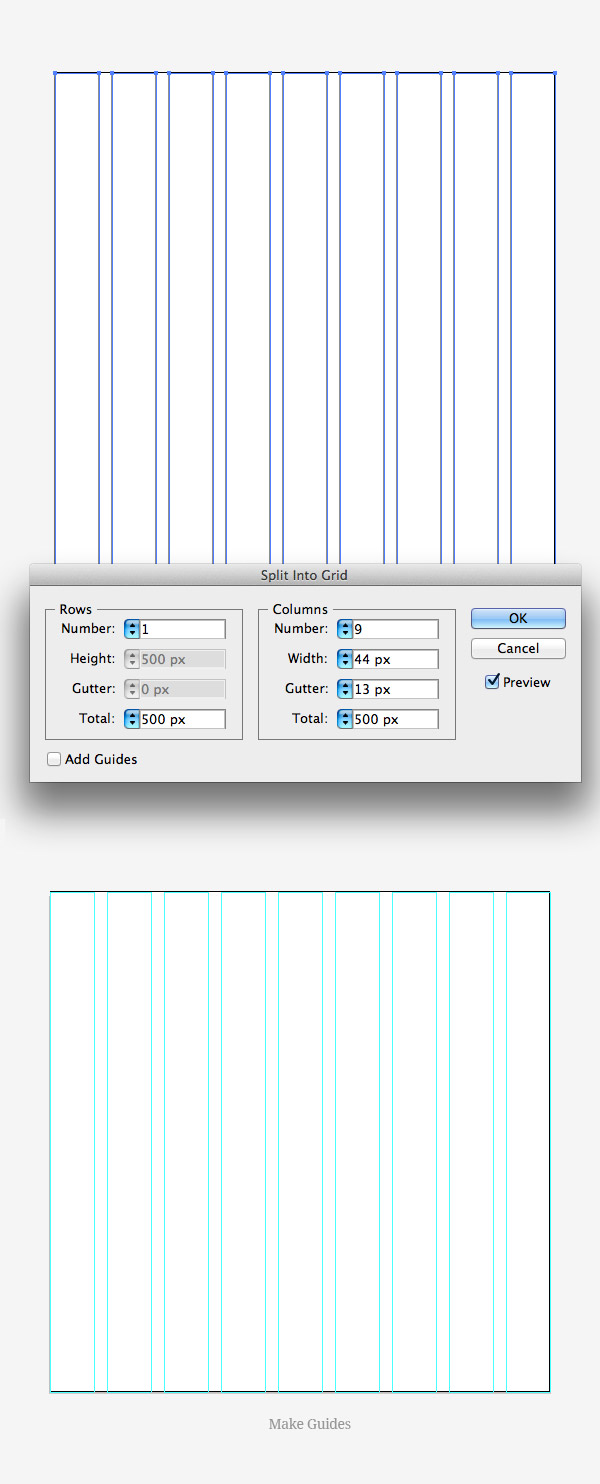 split into grid illustrator