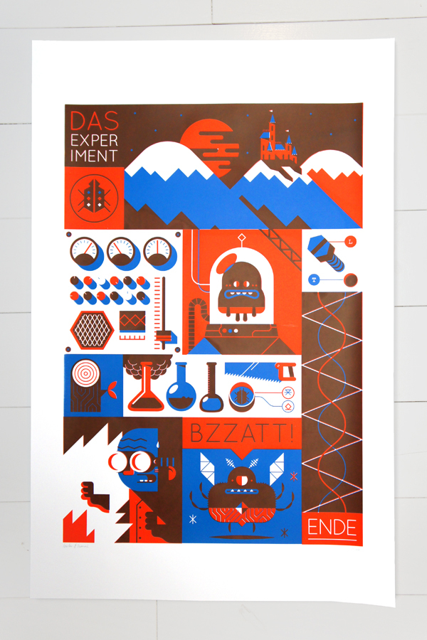 Screenprint - 'Das Experiment' by Loulou and Tummie