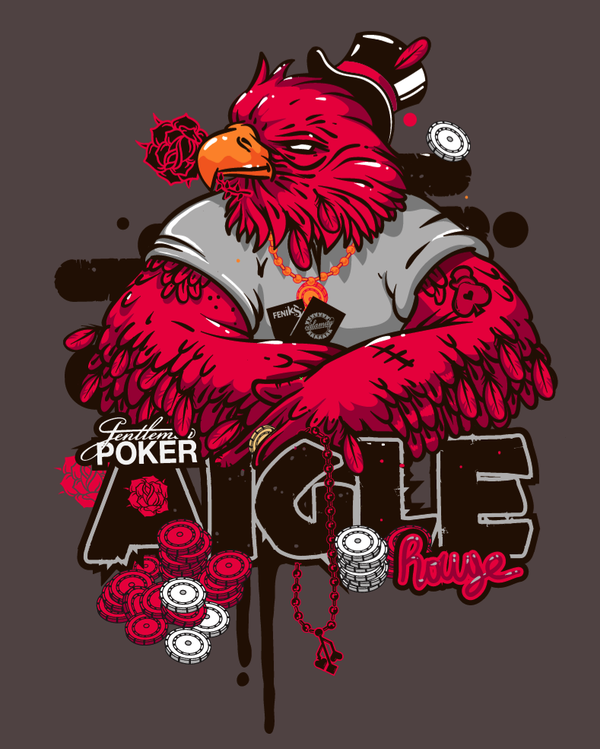 AIGLE rouge GENTLEMEN POKER by IKS Hosmane