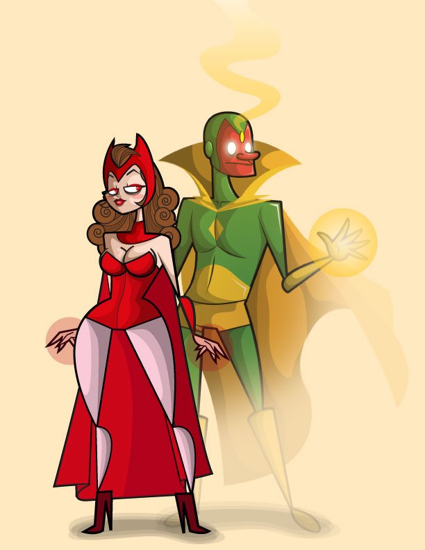 Vision and Scarlet Witch by kungfumonkey
