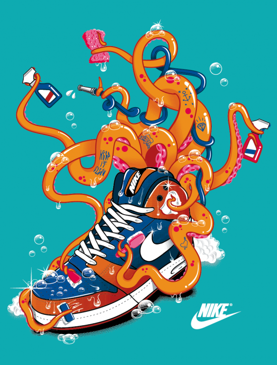 Nike t-shirt April 2012 Octopus by TokyoCandies