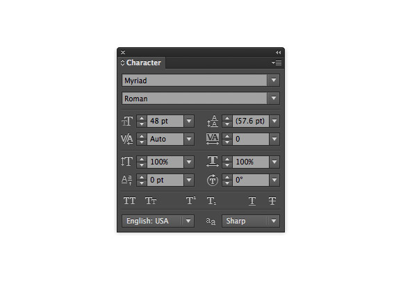 Illustrator CS6 Type panel improvements