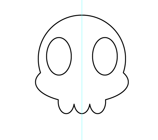 Cartoon Skull Sticker Vector