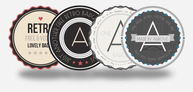 free retro badges