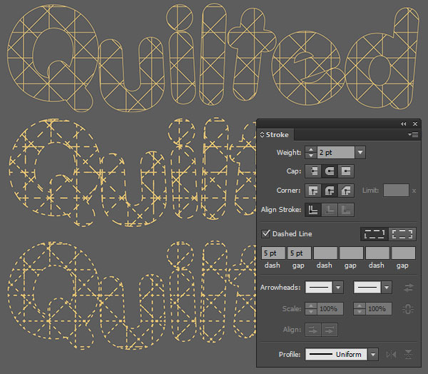 quilted text vector