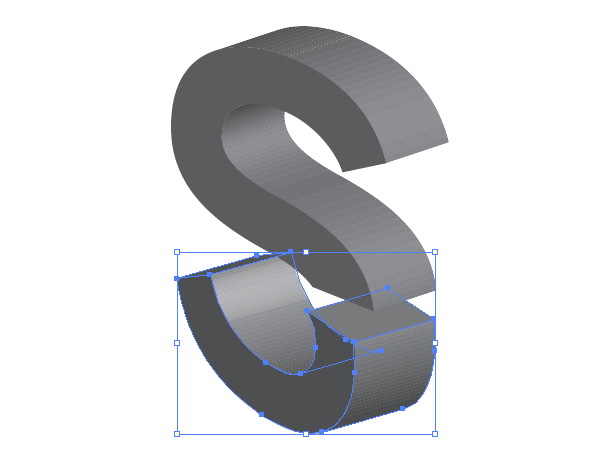 3D split text vector effect