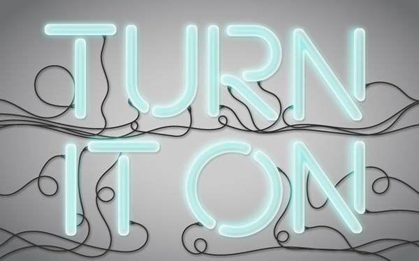 Neon Light Vector Text