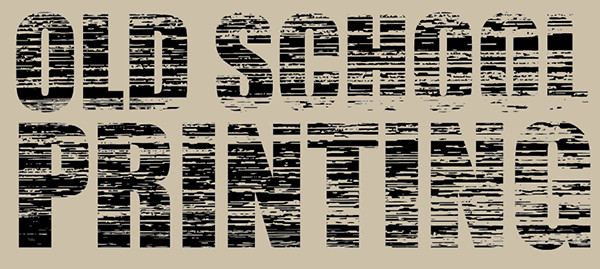 Wood Block Print Text Vector