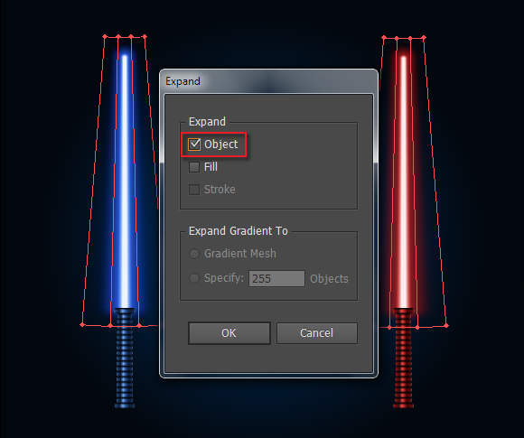 expand lightsaber vector blades