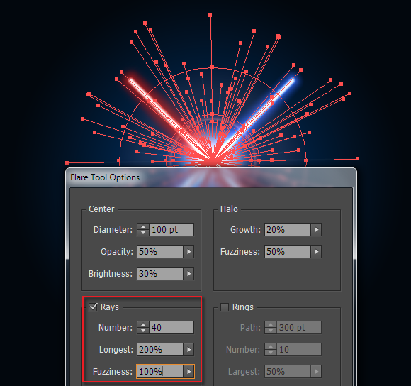 use flare tool to place lightsaber vectors