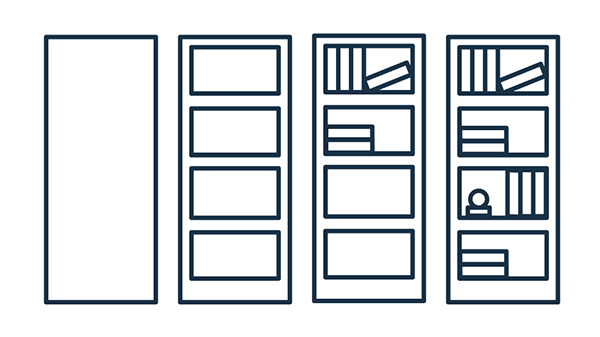 how to illustrate a bookcase in an office