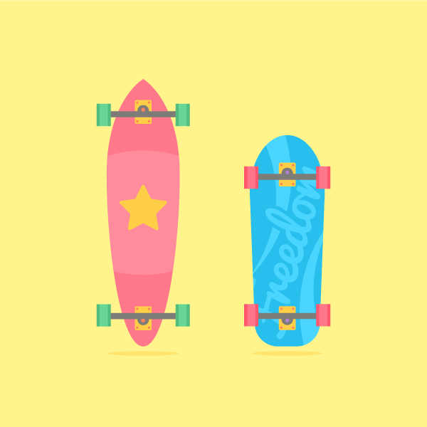 Learn how to illustrate skateboards in flat style