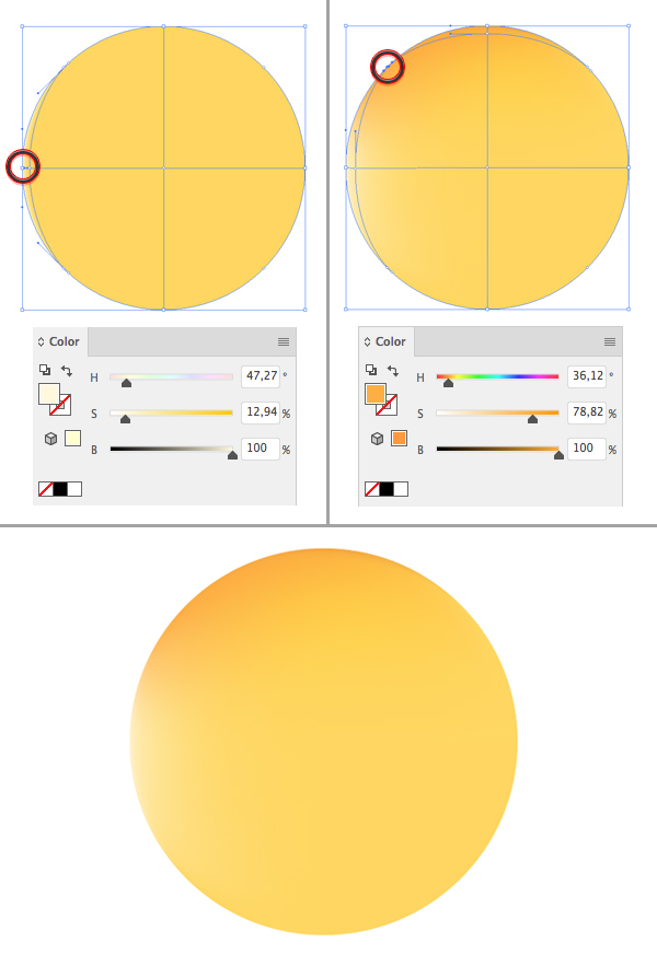 how to make a coloured circle in illustrator