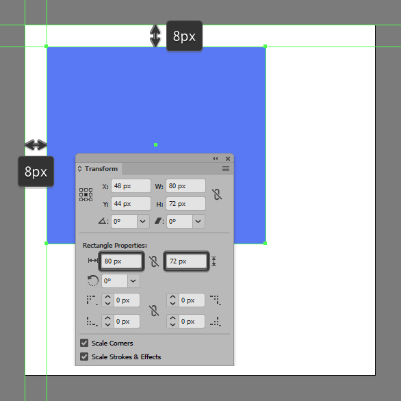 start working on the newspapers front section by creating an 80 x 72 px rectangle which we will color using 587af4 and then position at a distance of 8
