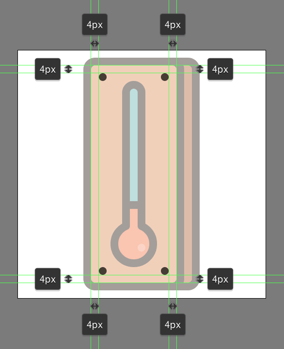 add circles to represent screws on the Retro Thermometer Icon