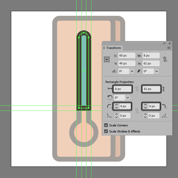 add a rectangle and round the top by 4px