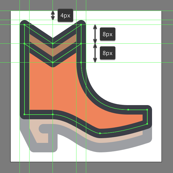 Cowboy Boot Icon detail