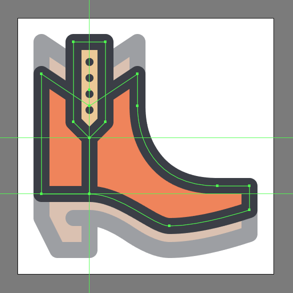 Cowboy Boot Icon strap outline