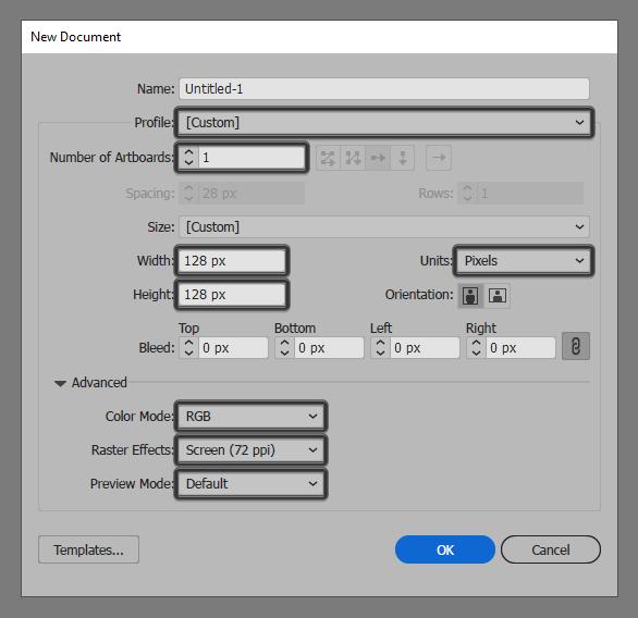 Artboard Setup for File Cabinet Icon