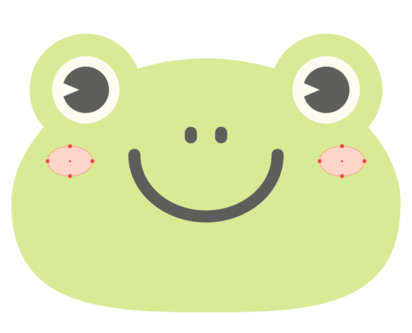 add circles to the cheeks of the cute frog vector for blush