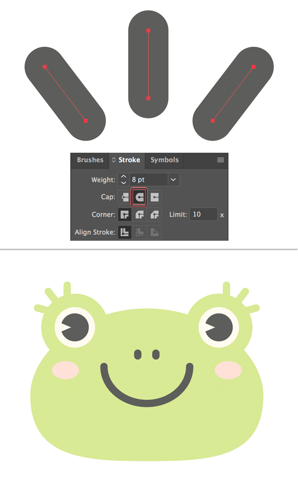 use the pen tool to create eyelashes for the cute frog vector