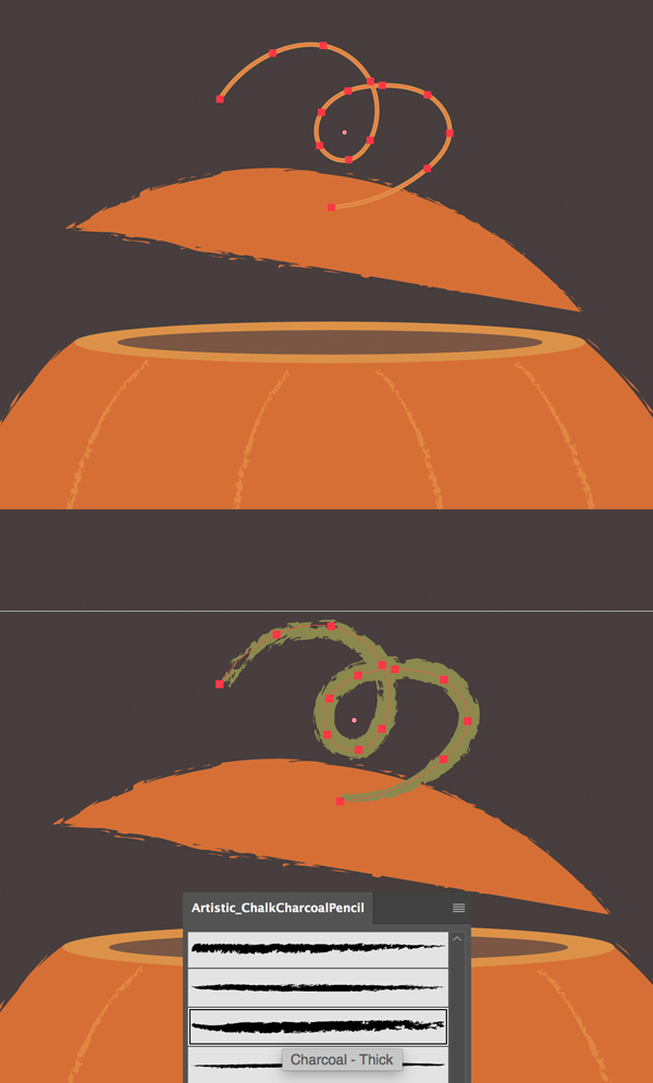 draw stem on the Pumpkin
