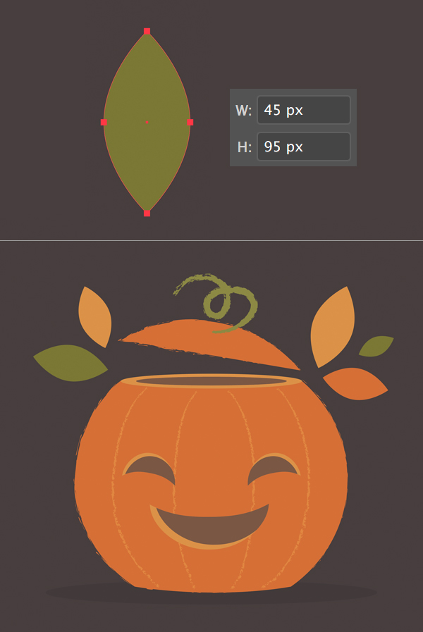 create a leaf for the Pumpkin illustration