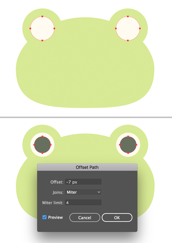 offset path of the cute frog vector