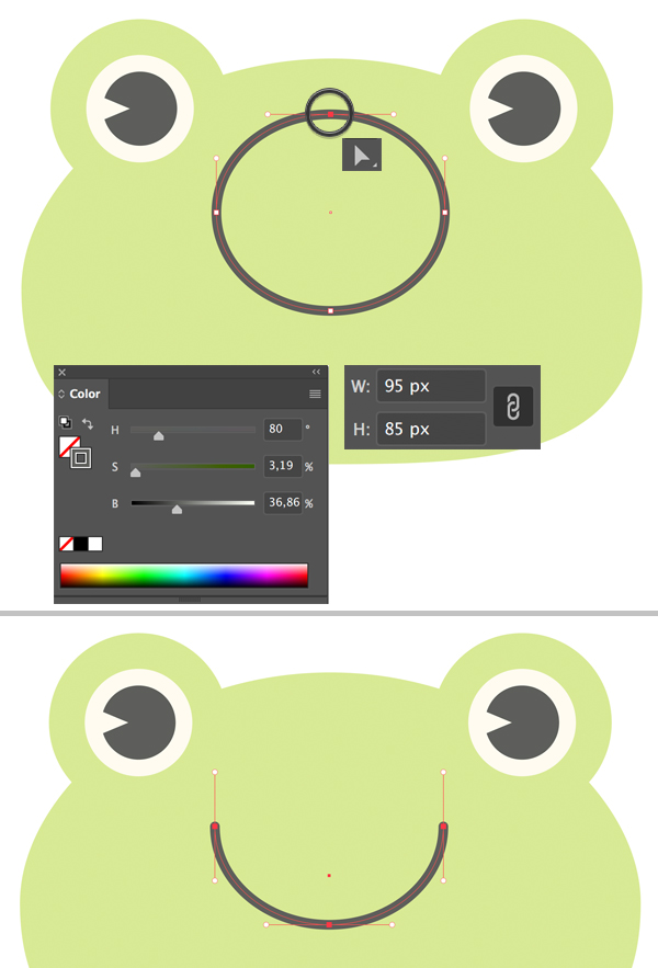 Create a mouth for the cute frog vector