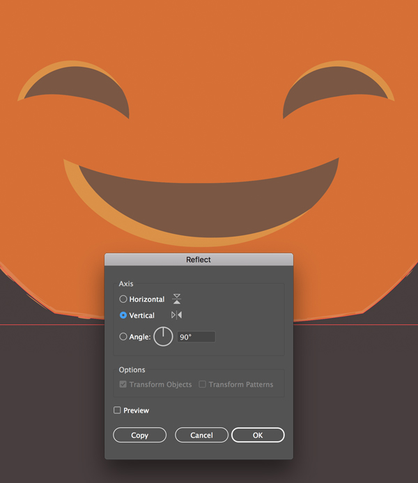 create the mouth of the Pumpkin illustration
