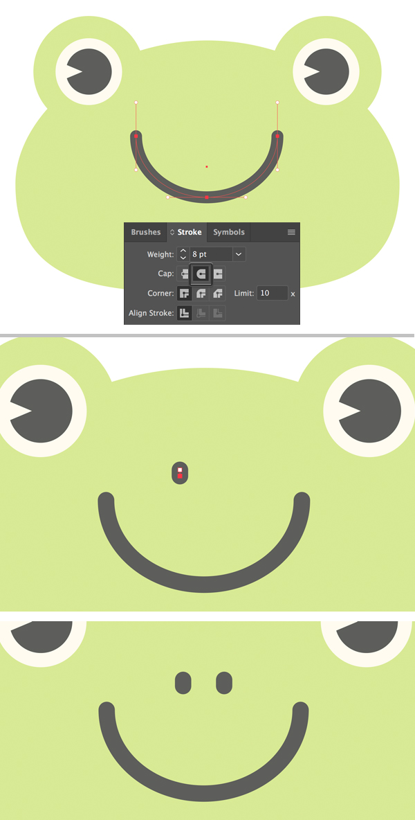 create the nose for the cute frog vector